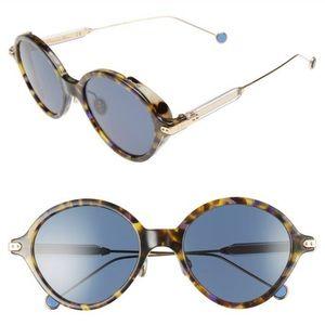 New DIOR 52mm Umbrage Round Sunglasses blue Havana